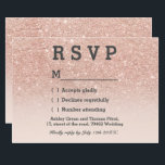 """Rose gold faux glitter pink ombre RSVP wedding Card<br><div class=""""desc"""">Rose gold faux glitter pink ombre RSVP wedding A modern,  original and simple faux rose gold glitter ombre rsvp wedding card on a fully customizable blush pink color background. Perfect for chic,  elegant theme wedding</div>"""