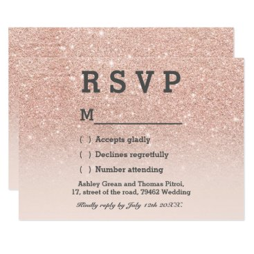 girly_trend Rose gold faux glitter pink ombre RSVP wedding Card