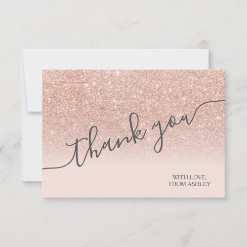 Rose gold faux glitter pink ombre script thank you