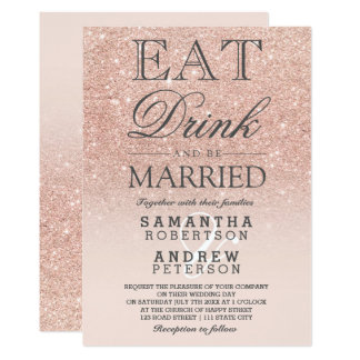 rose gold faux glitter pink ombre script wedding card - Rose Gold Wedding Invitations