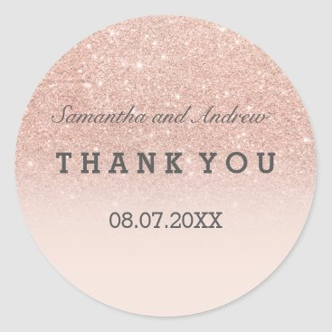 girly_trend Rose gold faux glitter pink ombre Thank you Classic Round Sticker