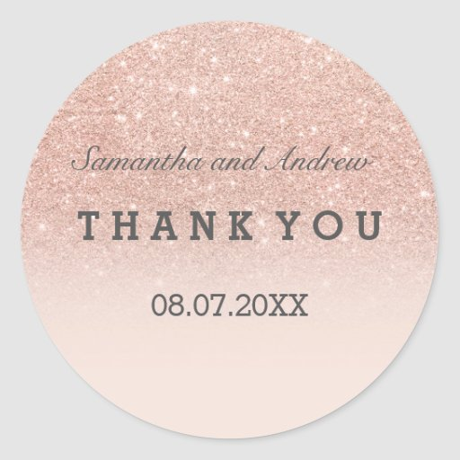 Rose gold faux glitter pink ombre Thank you Classic Round Sticker