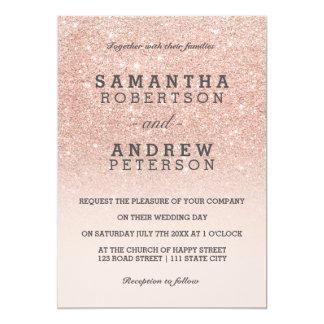 Rose gold faux glitter pink ombre wedding 5x7 paper invitation card