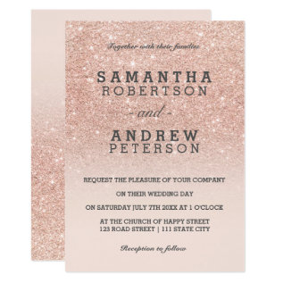 Rose Gold Faux Glitter Pink Ombre Wedding Card at Zazzle