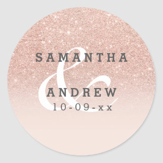 Rose gold faux glitter pink ombre wedding classic round sticker