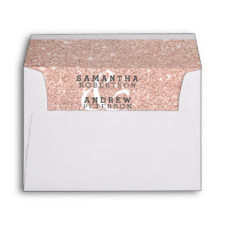 Rose gold faux glitter pink ombre wedding envelope