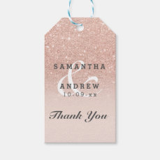Rose gold faux glitter pink ombre wedding favor gift tags