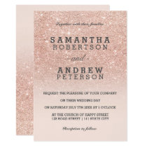 Rose gold faux glitter pink ombre wedding invitation