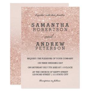 Glitter Wedding Invitations Announcements Zazzle