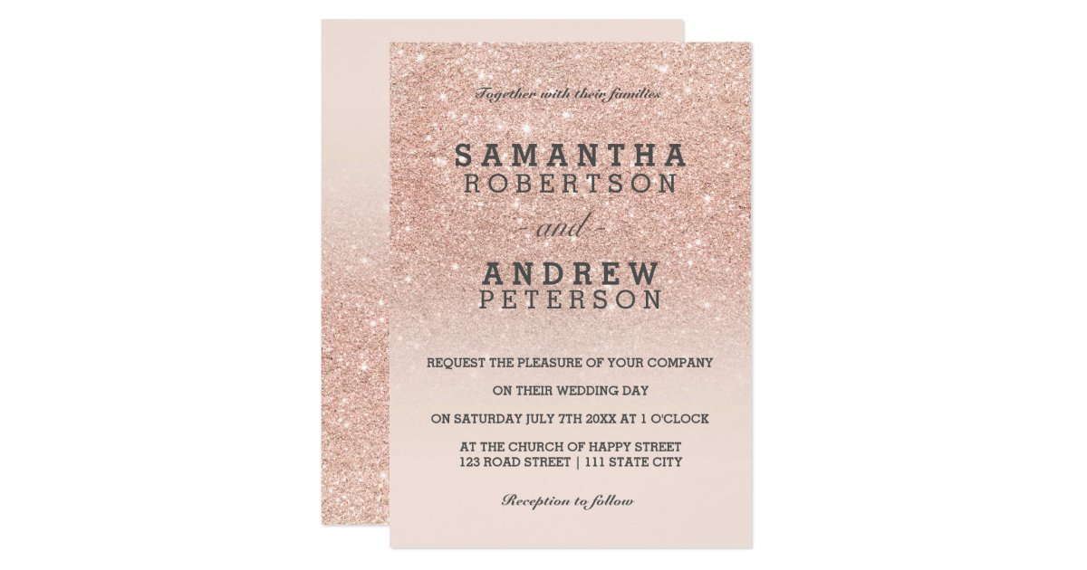 Ombre Wedding Invitation: Rose Gold Faux Glitter Pink Ombre Wedding Invitation