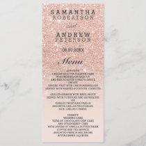Rose gold faux glitter pink ombre wedding menu
