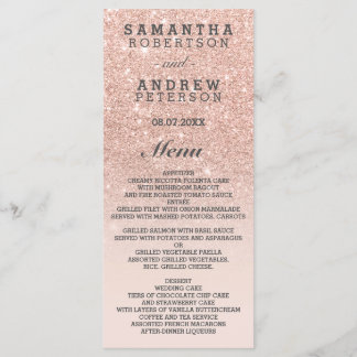 Rose gold faux glitter pink ombre wedding menu