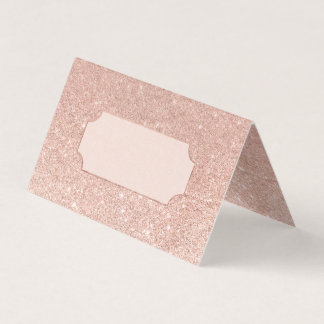 Rose gold faux glitter pink ombre wedding place card