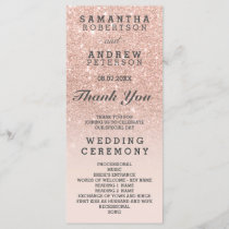 Rose gold faux glitter pink ombre wedding program