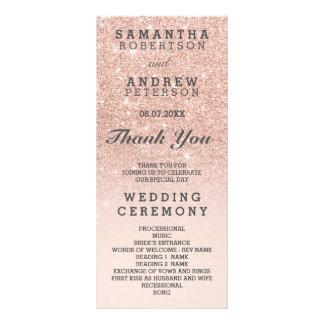Rose Gold Faux Glitter Pink Ombre Wedding Program