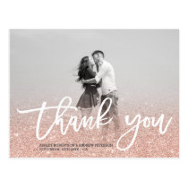 Rose gold faux glitter pink photo thank you postcard