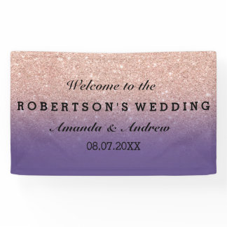 Rose gold faux glitter purple ombre wedding banner
