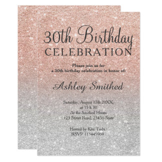 Rose gold faux glitter silver ombre 30th birthday card