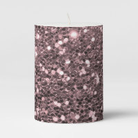 Rose Gold Faux Glitter Sparkles Pillar Candle