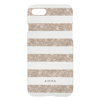 Rose Gold Faux Glitter Stripe iPhone 8/7 Case