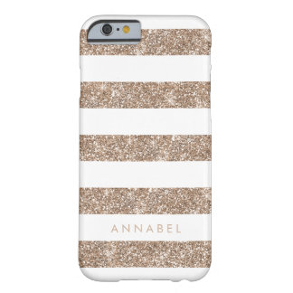 Rose Gold Faux Glitter & White Stripe Personalized Barely There iPhone 6 Case