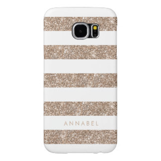 Rose Gold Faux Glitter & White Stripe Personalized Samsung Galaxy S6 Case