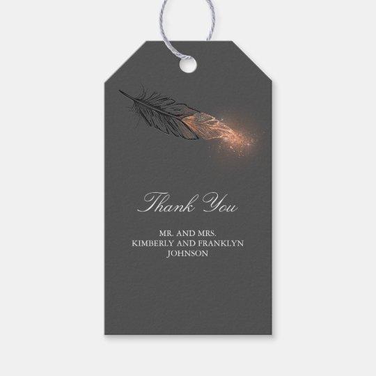 Rose Gold Feather Elegant Wedding Gift Tags Zazzle