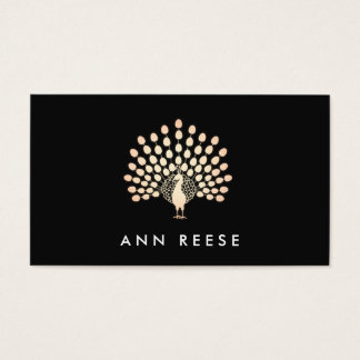 Rose Gold Feather Peacock Stylish Designer Black Business Card