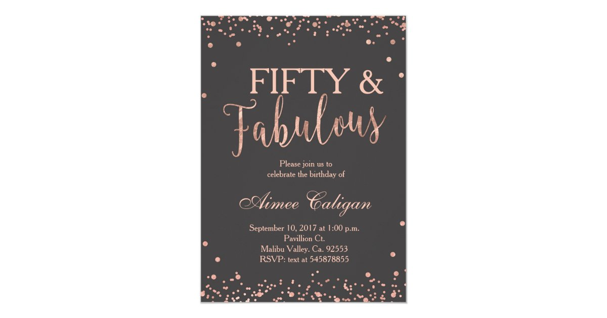 Rose Gold Fifty And Fabulous Birthday Invitation Zazzle Com