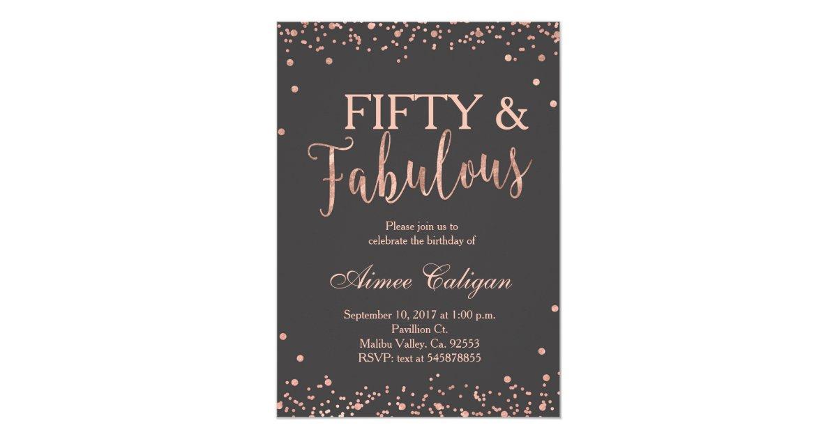 Rose Gold Fifty And Fabulous Birthday Invitation Zazzle Com