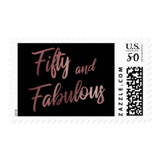 Rose Gold Fifty and Fabulous Script on Black Postage