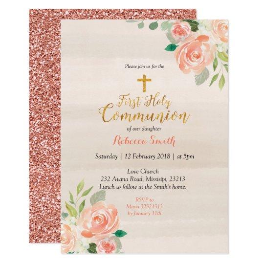 rose gold first holy communion invitation peach zazzle com