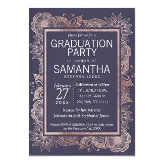 Rose Gold Floral and Navy Blue Graduation Party Card