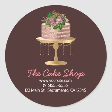 Professional Business Rose Gold Floral Cake Bakery Sticker Label