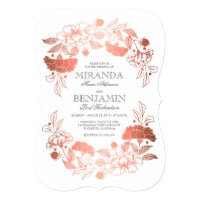 Rose Gold | Floral Elegant and Simple Wedding Card