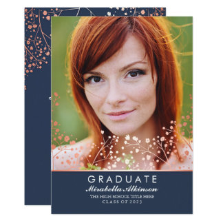 Rose Gold Floral Elegant Navy Photo Graduation Card