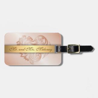 Rose Gold  Floral Heart Bag Tag
