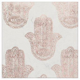 Rose gold floral lace hamsa hand white marble fabric