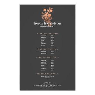 Rose Gold Floral Logo Dark Gray Salon Price List Flyer
