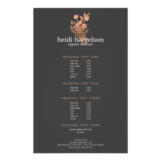 rose gold floral logo dark gray salon price list flyer