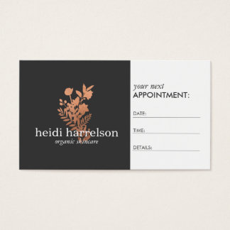 Rose Gold Floral Logo on Dark Gray Appointment Business Card