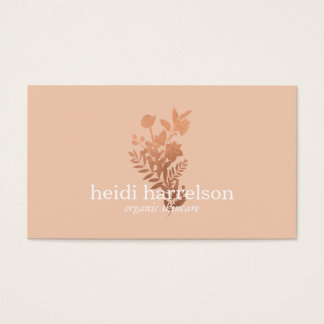 Rose Gold Floral Logo on Peach Business Card
