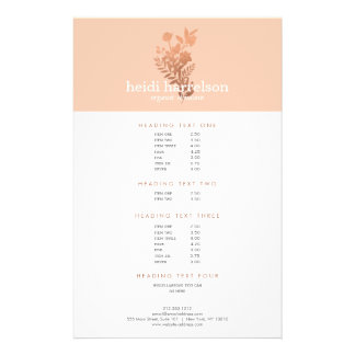 Rose Gold Floral Logo on Peach Salon Price List Flyer