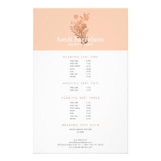 Rose Gold Floral Logo on Peach Salon Price List Flyer