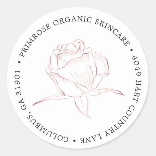 Rose Gold Floral Logo Return Address Classic Round Sticker