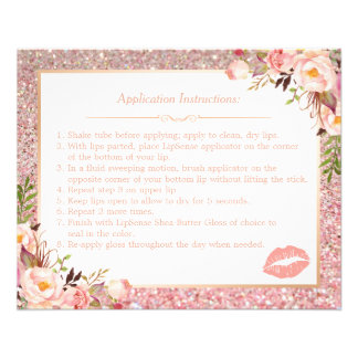 Rose Gold Floral Makeup Lips Instruction Tips Flyer