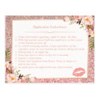 Rose Gold Floral Makeup Lips Instruction Tips Postcard