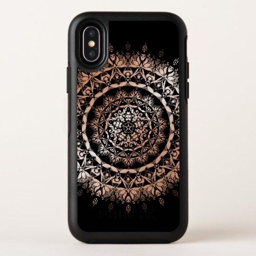 Rose Gold Floral Mandala Black Phone Case