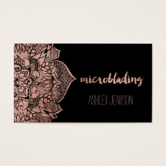 Rose gold floral mandala microblading typography business card