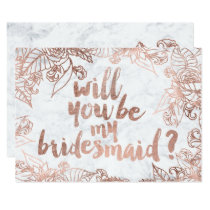 Rose gold floral marble Will you be my Bridesmaid Invitation